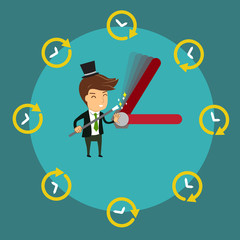 Smiling Businessman using magic wand to control  clock's hands