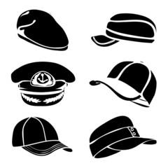 cap set isolated on white vector black art