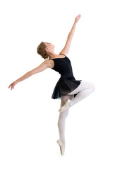 young dancer girl isolated on white