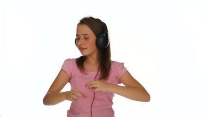 Young girl dancing or jiving