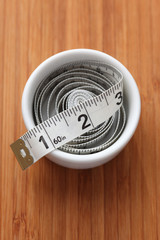 Tape measure in a bowl