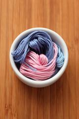 Cross-Stitch threads in a bowl