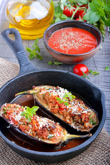 Eggplant stuffed with meat, rice and vegetables
