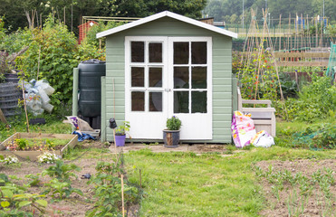 Allotment vegetable garden with wooden shed
