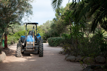 parking tractor with gardening tools in a mediterranean park