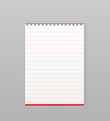 Spiral blank notebook isolated on white background, vector illus