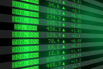 Shares price go up on computer display