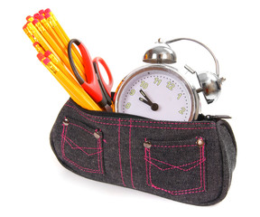 Bag with school tools on a white background.