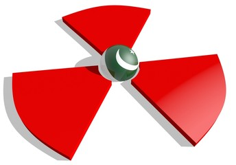 pakistan flag in nuclear danger 3d sign, atom energy concept
