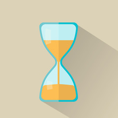 Hourglass icon in flat style with long shadow, vector illustrati