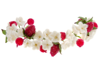 wreath white flowers cherry and red raspberry