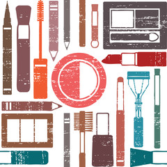 Grunge retro vector seamless pattern with makeup objects 1