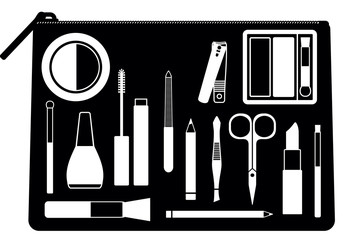Cosmetic bag with various beauty and care tools and products