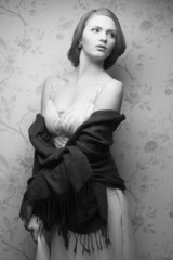 Hollywood diva concept. Vintage portrait of glamorous actress
