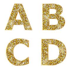 Golden metallic shiny letters A, B, C, D