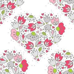 różowe i szare kwiaty i kropki serce deseń na białym tle