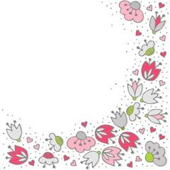 różowe szare kwiaty i kropki obramowanie na bieli