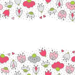 różowe szare kwiaty i kropki poziomy border na białym tle