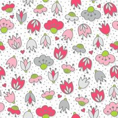 różowe szare kwiaty i kropki deseń na białym tle