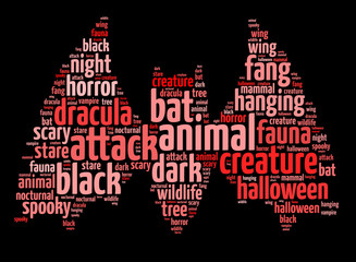Words illustration of a scary bat over black background