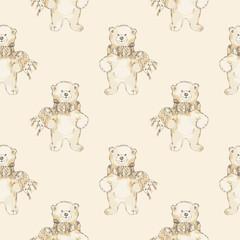 Watercolor polar bear seamless pattern