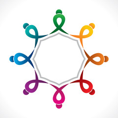 creative teamwork icon design by colorful people concept vector