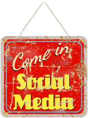 social media sign retro style, grungy, vector illustration