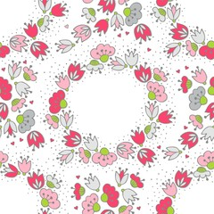 różowe szare kwiaty i kropki ozdobny wieniec deseń na bieli