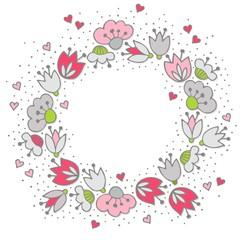 różowe szare kwiaty i kropki ozdobny wieniec na białym tle