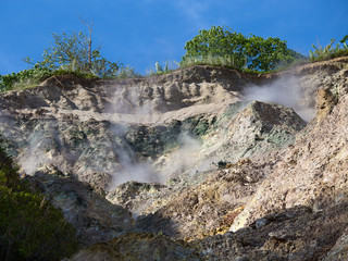 Volcanic steam comes out from the rock. Dumaguete, Philippines