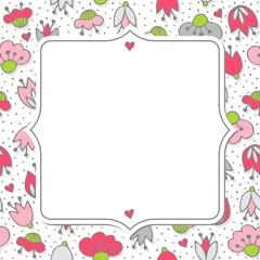 różowe szare kwiaty i kropki deseń z retro ramką na białym tle