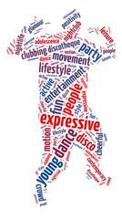 Words illustration of a disco dancer over white background