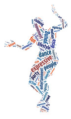 Words illustration of a man dancing over white background