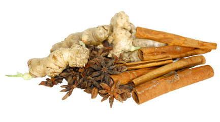 Ginger, cinnamon and star anise isolated on white
