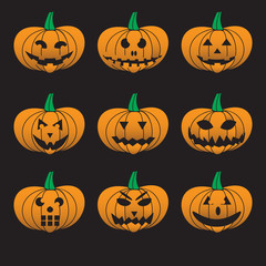 orange halloween carved pumpkins set eps10