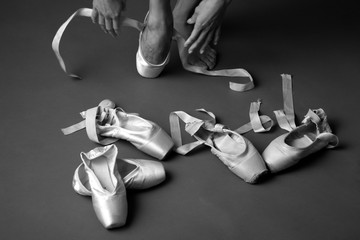 Ballet pointe shoes, in search og perfect shoes, monochrome