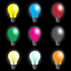 color light bulbs - light source eps10