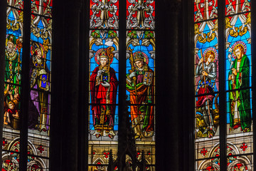 Catholic church interior stained-glass, Metz, France