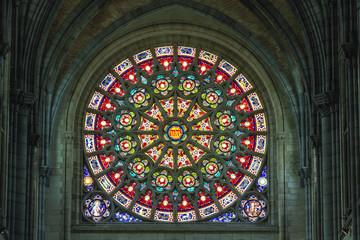 Catholic church interior stained-glass, Arlon, Belgium
