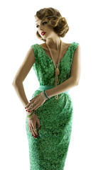 Woman retro beauty portrait in fashion sparkle sequin dress gown