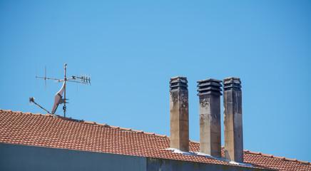 chimneys and antenna