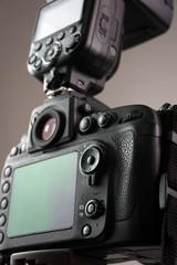 DSLR camera with external flash