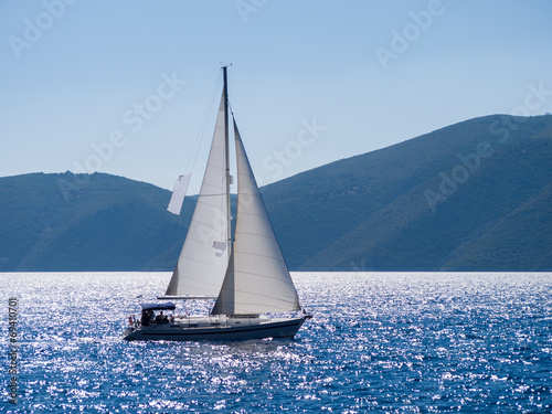 Plexiglas Zeilen Sailing yacht in Lefkada Greece