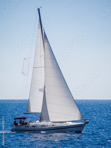 Fotobehang Jacht Sailing yacht in Lefkada Greece