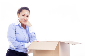 Woman standing with a cardboard box, isolated on white