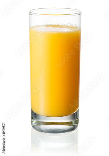 Leinwandbild Motiv Full glass of orange juice on white background. With clipping pa