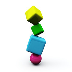 Colorful cubes - balance concept, 3d