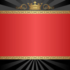 black and red background with golden crown