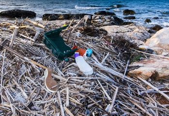 Pollution and waste on the beach