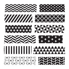 Set of black and white patterned washi tape stripes